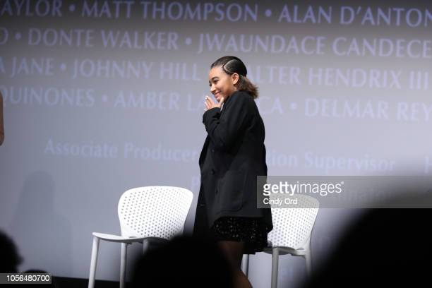 Actress Amandla Stenberg speak during the 'The Hate U Give' QA during the 21st SCAD Savannah Film Festival on November 2 2018 in Savannah Georgia