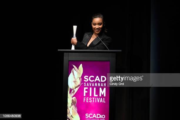 Actress Amandla Stenberg speaks during the 'Rising Star Award' during the 21st SCAD Savannah Film Festival on November 2 2018 in Savannah Georgia