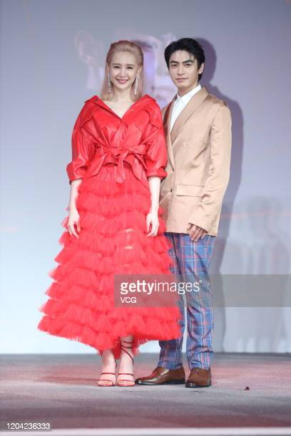 Actress Amber An and actor Edison Song attend television drama 'Moonlight Romance' press conference on February 5, 2019 in Taipei, Taiwan of China.