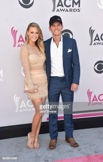 Actress Amber Bartlett and singersongwrtier Granger Smith attend the 52nd Academy Of Country Music Awards at Toshiba Plaza on April 2 2017 in Las...