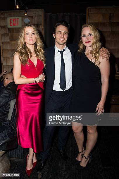 Actress Amber Heard actor James Franco and director Pamela Romanowsky attend the after party for the premiere of A24/DIRECTV's 'The Adderall Diaries'...