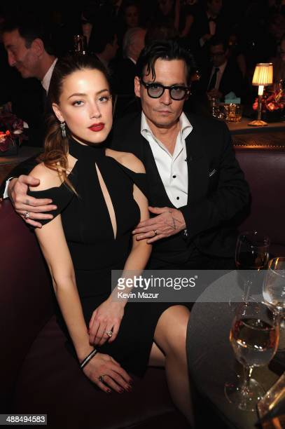 "Actress Amber Heard and Johnny Depp attend Spike TV's ""Don Rickles: One Night Only"" on May 6, 2014 in New York City."