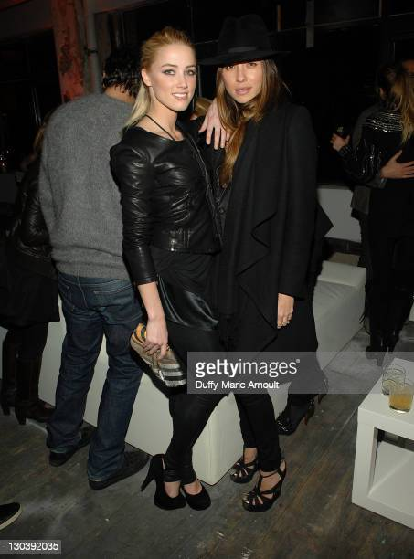 Actress Amber Heard and Tasya Van Ree attend Diesel Black Gold Fall 2010 cocktail reception during Mercedes-Benz Fashion Week on February 16, 2010 in...