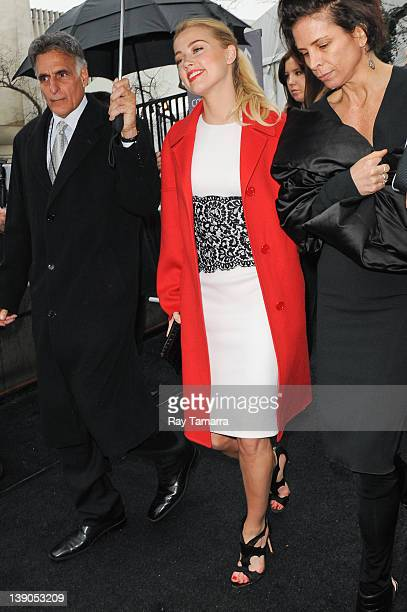 Actress Amber Heard and Tasya van Ree leave Fashion Week at Lincoln Center on February 15, 2012 in New York City.