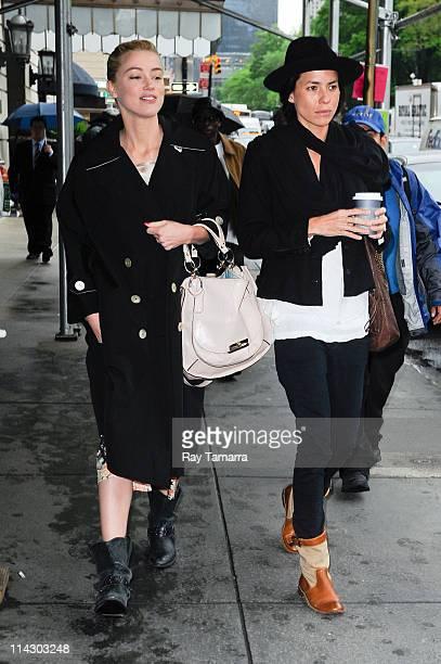 Actress Amber Heard and Tasya Van Ree leave their Midtown Manhattan hotel on May 17 2011 in New York City