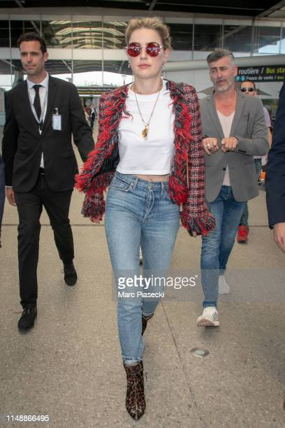 Actress Amber Heard arrives ahead the 72nd annual Cannes Film Festival at Nice Airport on May 13, 2019 in Nice, France.