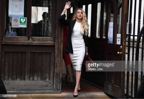 Actress Amber Heard arrives at the High Court for the libel trial by her former husband US actor Johnny Depp against News Group Newspapers in London,...