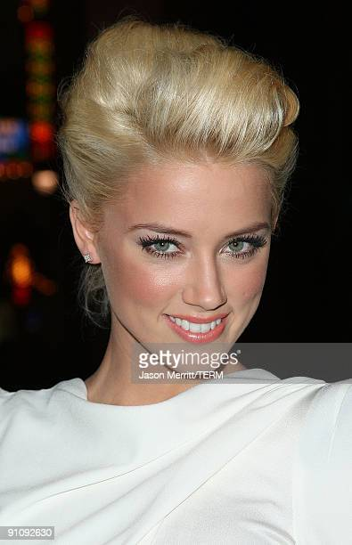 Actress Amber Heard arrives at the Los Angeles premiere of Sony Pictures' 'Zombieland' on September 23 2009 in Los Angeles California