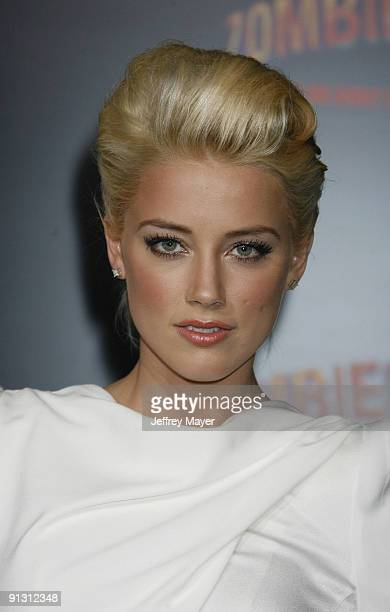 Actress Amber Heard arrives at the Los Angeles premiere of 'Zombieland' at the Grauman's Chinese Theatre on September 23 2009 in Hollywood California