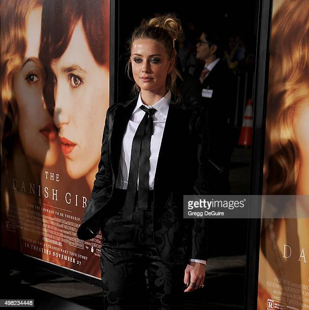 "Actress Amber Heard arrives at the premiere of Focus Features' ""The Danish Girl"" at Westwood Village Theatre on November 21, 2015 in Westwood,..."