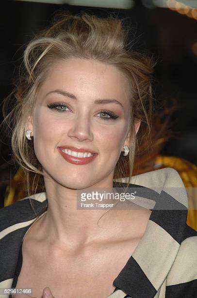 "Actress Amber Heard arrives at the premiere of ""Forgetting Sarah Marshall"" held at Grauman's Chinese Theater in Holllywood."