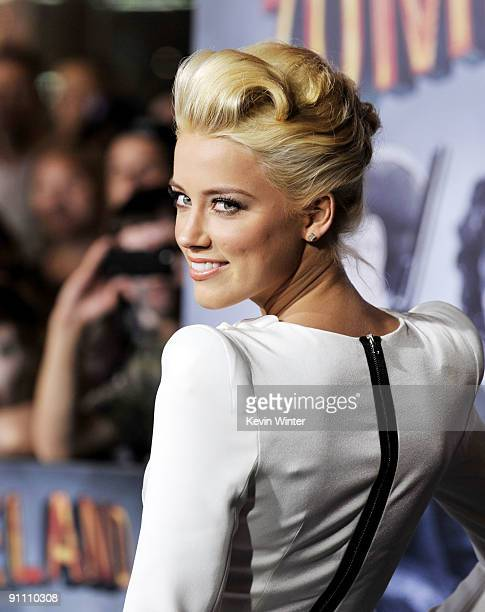 Actress Amber Heard arrives at the premiere of Sony Pictures' 'Zombieland' at the Chinese Theater on September 23 2009 in Los Angeles California