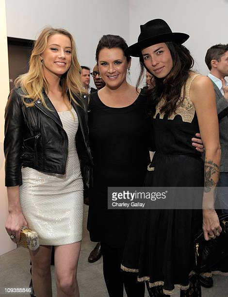 Actress Amber Heard Art of Elysium Founder Jennifer Howell and Artist Tasya van Ree attend Vanity Fair Campaign Hollywood 2011 continues with the...
