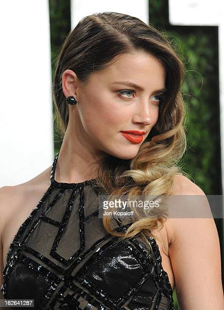 Actress Amber Heard attends the 2013 Vanity Fair Oscar party at Sunset Tower on February 24 2013 in West Hollywood California