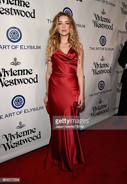 Actress Amber Heard attends The Art of Elysium 2016 HEAVEN Gala presented by Vivienne Westwood Andreas Kronthaler at 3LABS on January 9 2016 in...