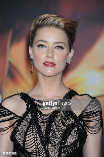 Actress Amber Heard attends the premiere of Warner Bros Pictures' 'Justice League' held at the Dolby Theatre on November 13 2017 in Hollywood...