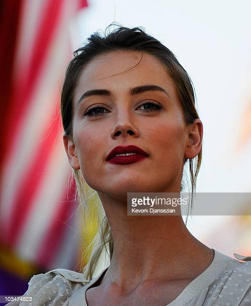 Actress Amber Heard during a same-sex marriage advocates demonstration against the stay barring gay marriages on August 19, 2010 in Los Angeles,...