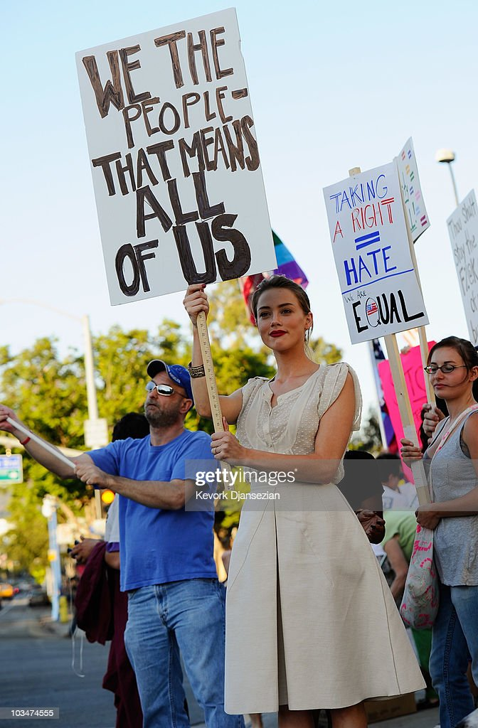 Same-Sex Marriage Advocates Demonstrate Against Stay Banning Gay Marriages : News Photo