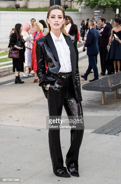 Actress Amber Heard is seen arriving to the 2018 CFDA Fashion Awards at Brooklyn Museum on June 4 2018 in New York City