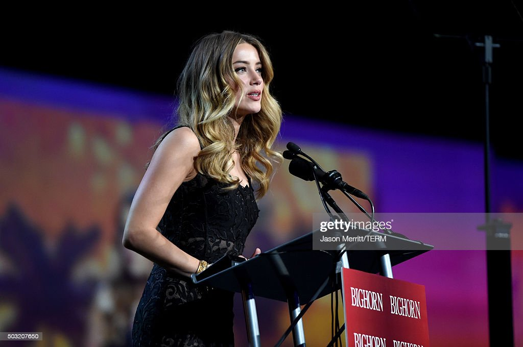 Actress Amber Heard speaks onstage at the 27th Annual Palm Springs International Film Festival Awards Gala at Palm Springs Convention Center on January 2, 2016 in Palm Springs, California.
