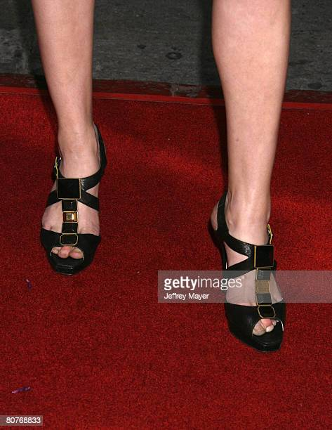 Actress Amber Heard's shoes at the Universal Pictures' World Premiere of Forgetting Sarah Marshall on April 10 2008 at Grauman's Chinese Theater in...