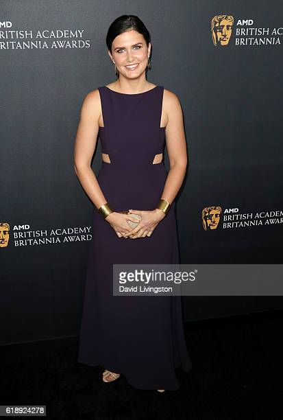Actress Amber Hodgkiss arrives at the 2016 AMD British Academy Britannia Awards presented by Jaguar Land Rover and American Airlines at The Beverly...
