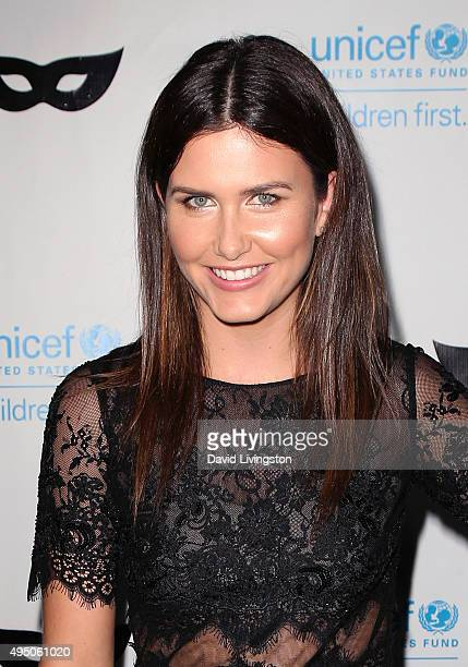 Actress Amber Hodgkiss attends the Third Annual UNICEF Black White Masquerade Ball presented by UNICEF Next Generation at Hollywood Forever on...