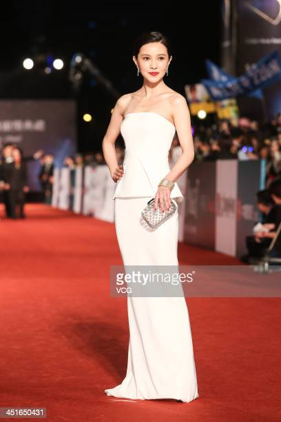 Actress Amber Kuo arrives on the red carpet of the 50th Golden Horse Awards at Sun Yatsen Memorial Hall on November 23 2013 in Taipei Taiwan