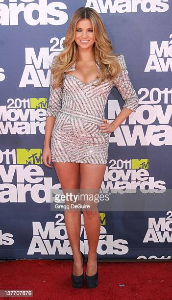 Actress Amber Lancaster arrives at the 2011 MTV Movie Awards at the Gibson Amphitheatre on June 5 2011 in Universal City California