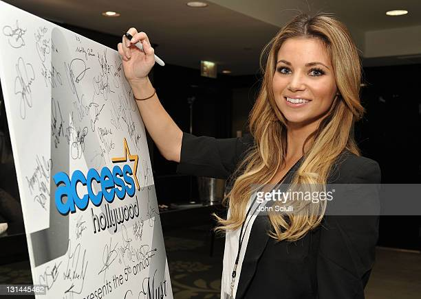Actress Amber Lancaster attends the Access Hollywood 'Stuff You Must' Lounge produced by On 3 Productions at the Sofitel Hotel on January 14 2011 in...