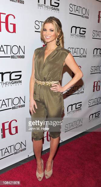 Actress Amber Lancaster attends the launch of February's FG Magazine hosted by Jessica Hall on January 26 2011 in Hollywood California