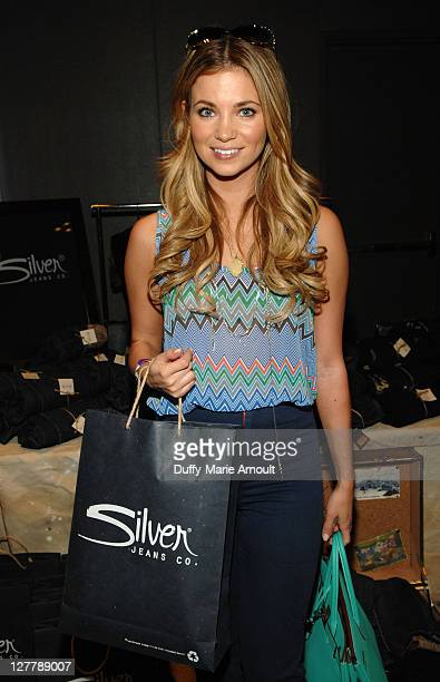 Actress Amber Lancaster poses with Silver Jeans Co during Kari Feinstein MTV Movie Awards Style Lounge at the W Hollywood on June 3 2011 in Hollywood...