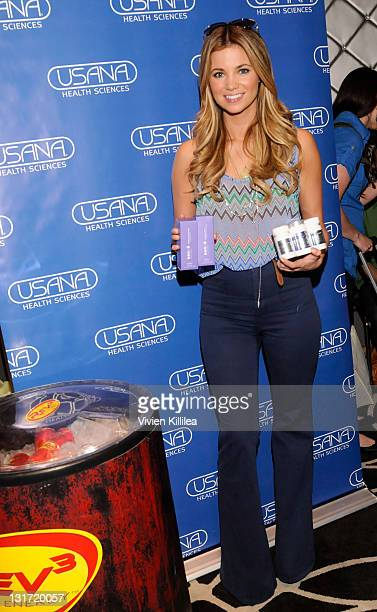 Actress Amber Lancaster poses with USANA during Kari Feinstein MTV Movie Awards Style Lounge at the W Hollywood on June 3 2011 in Hollywood California