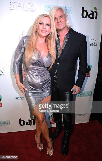 Actress Amber Lynn and personality Daniel DiCriscio arrive for the Launch Party For So Very Vida Blog held at Station Hollywood at W Hollywood Hotel...