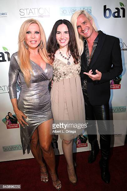 Actress Amber Lynn blogger Vida Ghaffari and personality Daniel DiCriscio arrive for the Launch Party For So Very Vida Blog held at Station Hollywood...