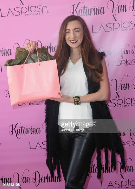 Actress Amber Martinez attends the Valentine's Day Meet And Greet and Taping of docuseries '90s Girl' For Katarina Van Derham's New Lipstick Launch...