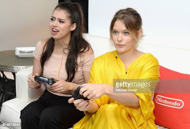 Actress Amber Midthunder and actress Rachel Keller from the television series 'Legion' stopped by Nintendo at the TV Insider Lounge to check out...