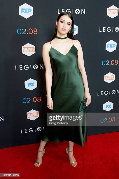 Actress Amber Midthunder arrives for the Premiere Of FX's Legion at Pacific Design Center on January 26 2017 in West Hollywood California