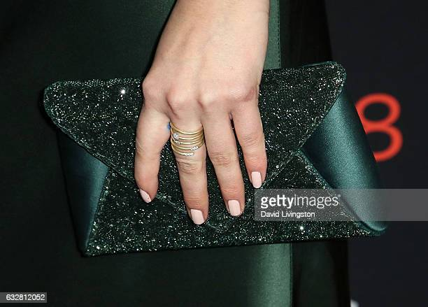 Actress Amber Midthunder purse ring detail attends the premiere of FX's Legion at Pacific Design Center on January 26 2017 in West Hollywood...