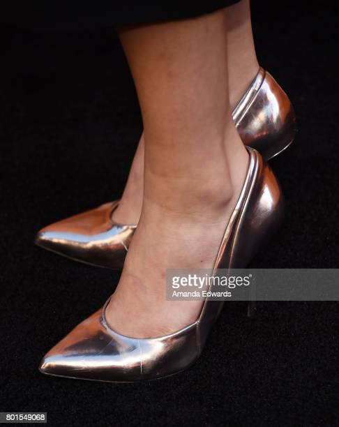 Actress Amber Midthunder shoe detail arrives at the premiere of FX's Snowfall at The Theatre at Ace Hotel on June 26 2017 in Los Angeles California