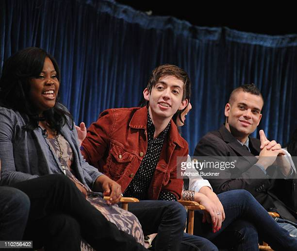 Actress Amber Riley actor Kevin McHale and actor Mark Salling attend the Paley Center for Media's Paleyfest 2011 Event honoring Glee at the Saban...