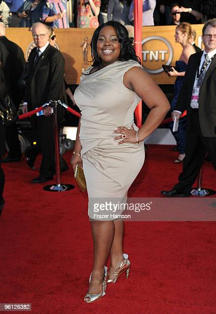 Actress Amber Riley arrives at the 16th Annual Screen Actors Guild Awards held at the Shrine Auditorium on January 23 2010 in Los Angeles California