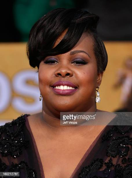 Actress Amber Riley arrives at the 19th Annual Screen Actors Guild Awards held at The Shrine Auditorium on January 27, 2013 in Los Angeles,...