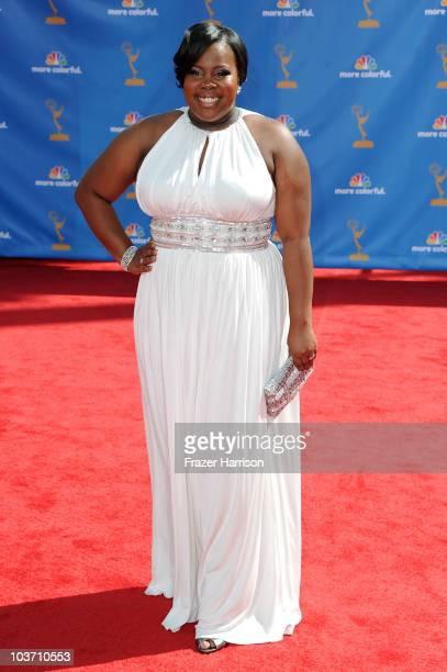 Actress Amber Riley arrives at the 62nd Annual Primetime Emmy Awards held at the Nokia Theatre LA Live on August 29 2010 in Los Angeles California
