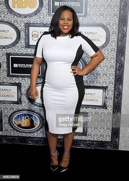 Actress Amber Riley arrives at the Family Equality Council's Annual Los Angeles Awards Dinner at The Globe Theatre on February 8 2014 in Universal...