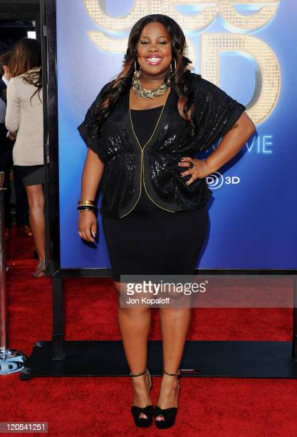 """Actress Amber Riley arrives at the Los Angeles Premiere """"GLEE: The 3D Concert Movie"""" at Regency Village Theatre on August 6, 2011 in Westwood,..."""