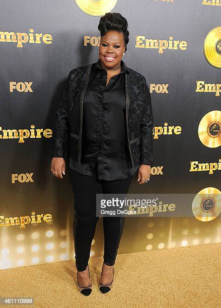 Actress Amber Riley arrives at the red carpet premiere of Empire at ArcLight Cinemas Cinerama Dome on January 6 2015 in Hollywood California