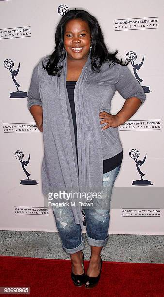 Actress Amber Riley attends the Academy of Television Arts and Sciences' Evening with 'Glee' at the Leonard H Goldenson Theatre on April 26 2010 in...