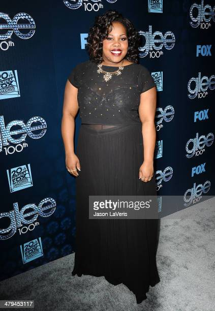 Actress Amber Riley attends the 'Glee' 100th episode celebration at Chateau Marmont on March 18 2014 in Los Angeles California