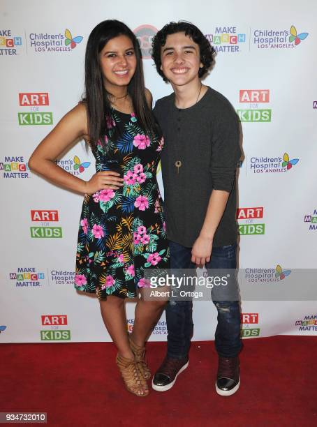 Actress Amber Romero and actor Hunter Payton attend Art For Kids And The Cast Of USA Networks' 'The Secret Lives Of Kids' Create Art To Benefit...